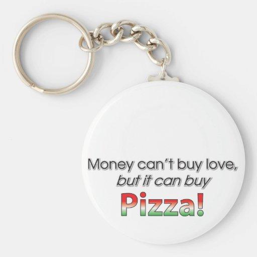 Dinero y pizza llavero redondo tipo pin
