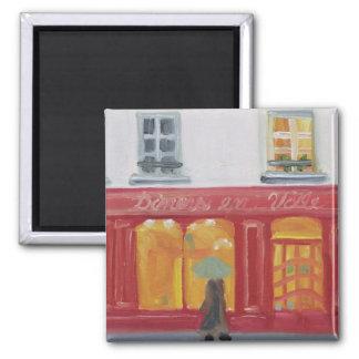 """""""Diners en Ville"""" 2 Inch Square Magnet"""