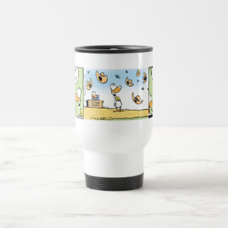 Ding Duck Windy Day Cartoon Travel Mug