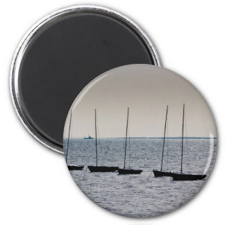 Dinghies moored off of Leigh on Sea Essex 2 Inch Round Magnet