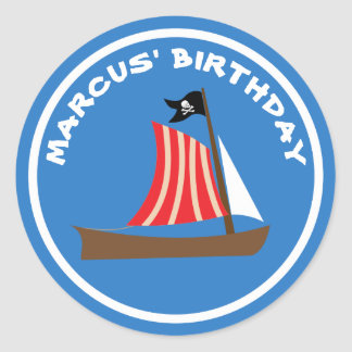 Dinghy Boat Jolly Roger Pirate Birthday Classic Round Sticker
