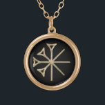 """Dingir Gold Plated Necklace<br><div class=""""desc"""">PLEASE NOTE: THE DINGIR IS AN IMAGE WITH A METAL EFFECT. IT IS NOT METAL. The dingir is a Sumerian cuneiform ideogram which precedes the name of the gods. It is called a determinative to indicate divinity of the name following it. It is the logogram by which the name that...</div>"""