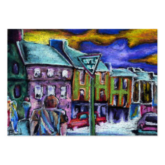 Dingle town at dusk business card template