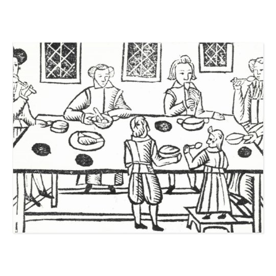 Dining at Home, from the Roxburghe ballads Postcard