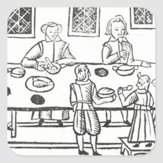 Dining at Home, from the Roxburghe ballads Square Sticker