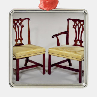 Dining chairs, with interlaced splat backs metal ornament