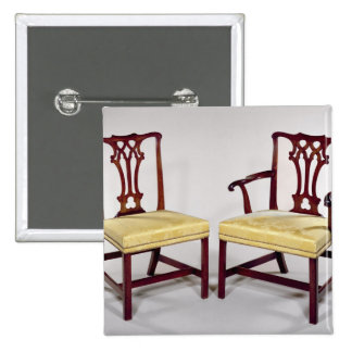 Dining chairs, with interlaced splat backs pinback button