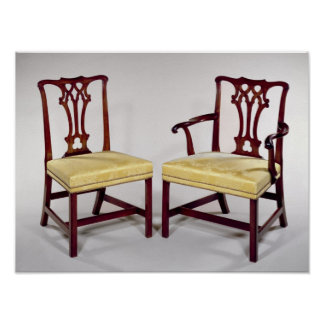 Dining chairs, with interlaced splat backs poster