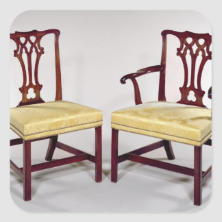 Dining chairs, with interlaced splat backs square sticker