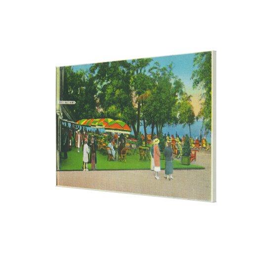 Dining on the Boardwalk at Roseland Park Scene Canvas Print