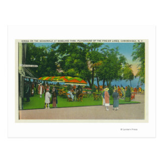 Dining on the Boardwalk at Roseland Park Scene Postcard