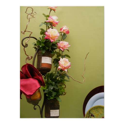 Dining room roses poster zazzle for Dining room posters