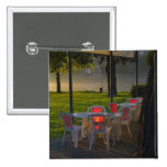 Dining table and chairs by the Danube River, Pinback Button