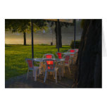 Dining table and chairs by the Danube River, Greeting Cards