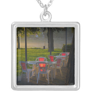 Dining table and chairs by the Danube River, Square Pendant Necklace