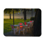 Dining table and chairs by the Danube River, Flexible Magnet