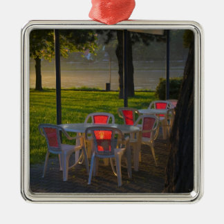 Dining table and chairs by the Danube River, Square Metal Christmas Ornament