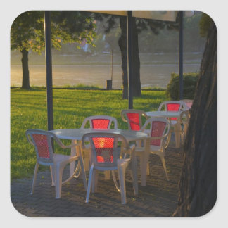 Dining table and chairs by the Danube River, Square Sticker