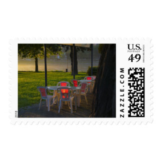 Dining table and chairs by the Danube River, Stamp