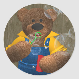 Dinky Bear: Blowing Bubbles Classic Round Sticker