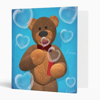 Dinky Bear blowing Heart Bubbles 3 Ring Binder