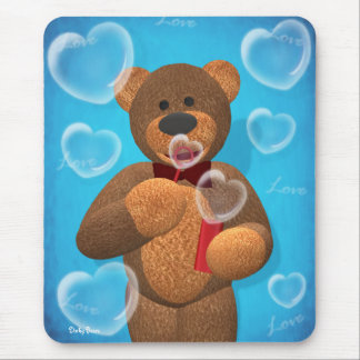 Dinky Bear blowing Heart Bubbles Mouse Pad