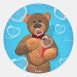 Dinky Bear blowing Heart Bubbles Round Sticker
