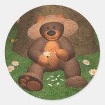 Dinky Bear in Love Classic Round Sticker