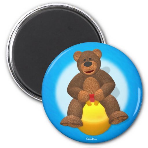 Dinky Bear on Hop Ball 2 Inch Round Magnet