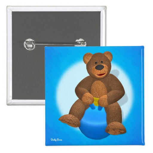 Dinky Bear on Hop Ball 2 Inch Square Button