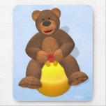 Dinky Bear on Hop Ball Mouse Pad
