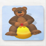 Dinky Bear on Hop Ball Mouse Pads