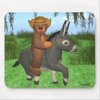 Dinky Bear riding a Donkey