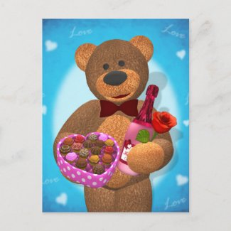 Dinky Bear with Chocolates postcard