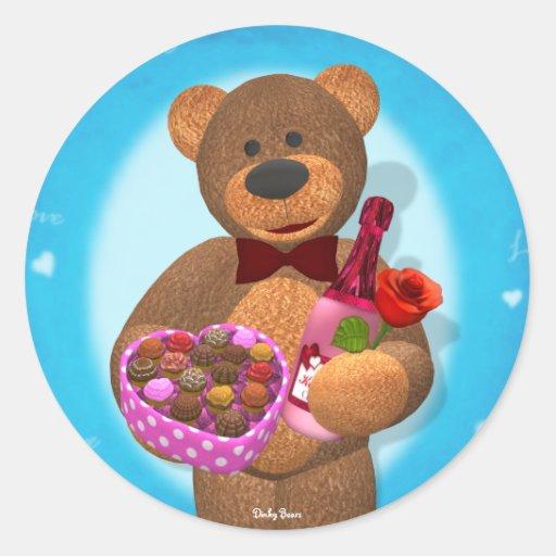 Dinky Bear with Chocolates Round Stickers