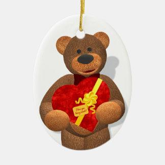 Dinky Bear with Heart Box Christmas Tree Ornaments