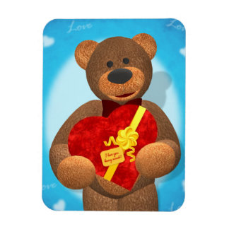 Dinky Bear with Heart Box Rectangular Photo Magnet