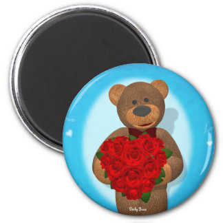 Dinky Bear with Heart of Roses 2 Inch Round Magnet
