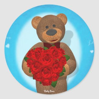 Dinky Bear with Heart of Roses sticker