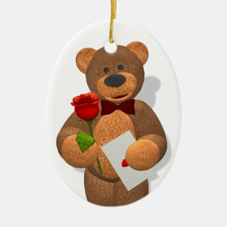 Dinky Bear with Rose Ceramic Ornament
