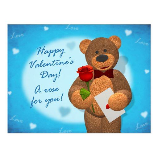 Dinky Bear with Rose Postcard