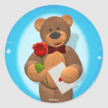 Dinky Bear with Rose Round Stickers
