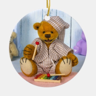 Dinky Bear with Xylophone Double-Sided Ceramic Round Christmas Ornament