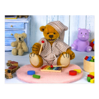 Dinky Bear with Xylophone Postcard