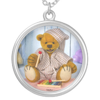 Dinky Bear with Xylophone Silver Plated Necklace