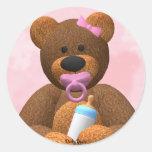 Dinky Bears Baby Girl Classic Round Sticker