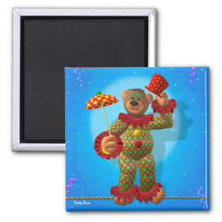 Dinky Bears balancing Clown 2 Inch Square Magnet