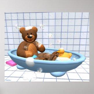 Teddy in der Badewanne