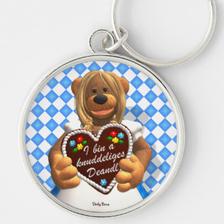 Dinky Bears Bavarian Cuddle Bear 2 Silver-Colored Round Keychain