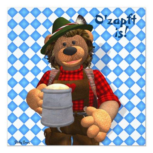 Dinky Bears Bavarian Oktoberfest Bear 5.25x5.25 Square Paper Invitation Card